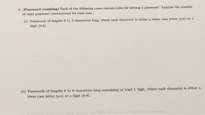 Solved: 2  (Password Counting) Each Of The Following Cases