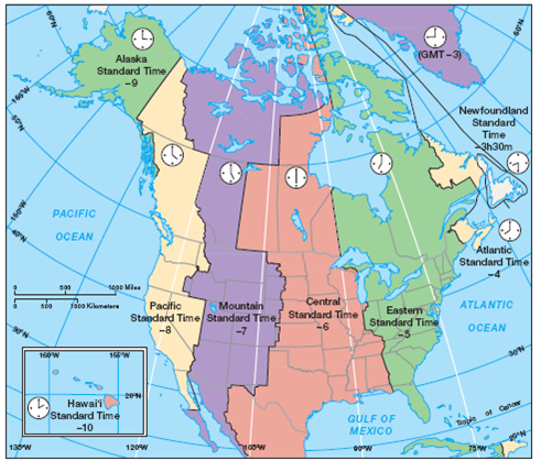 Solved: Using the map of North American time zones (Figure 2 ...