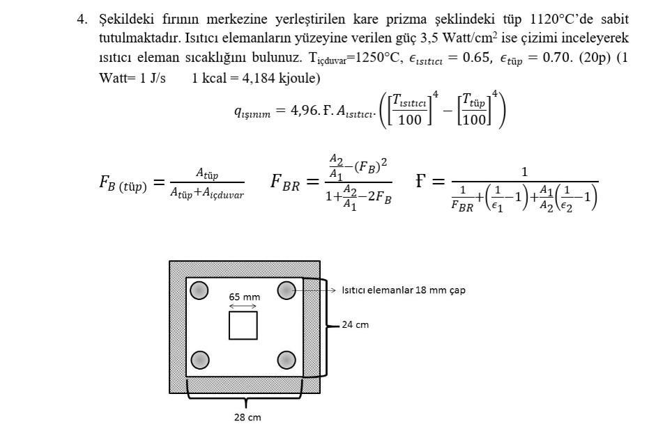 4. Şekildeki fırının merkezine yerleştirilen kare prizma şeklindeki tüp 1120°Cde sabit tutulmaktadır. Isıtıcı elemanların yü