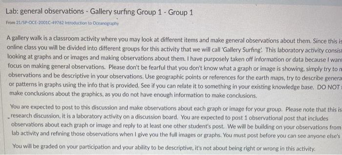 Lab: general observations - Gallery surfing Group 1 - Group 1 From 21/SPOCE-20010-49762 Introduction to Oceanography A galler