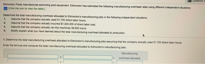 Solved: Question P Edmonton Pools Manufactures Swimming Po ...
