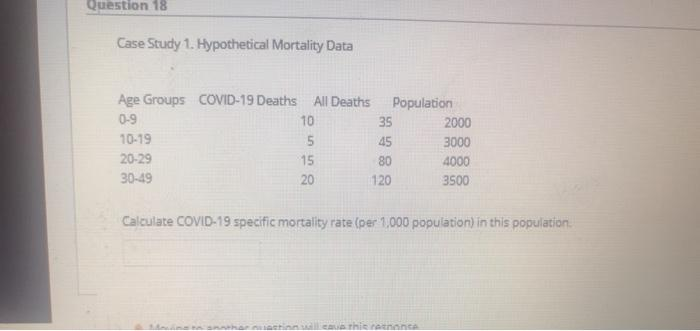 Question 18 Case Study 1. Hypothetical Mortality Data Age Groups COVID-19 Deaths All Deaths 0-9 10 10-19 5 20-29 15 30-49 20