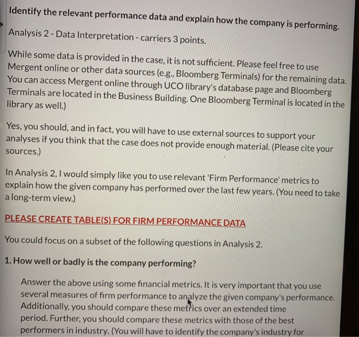 Identify The Relevant Performance Data And Explain