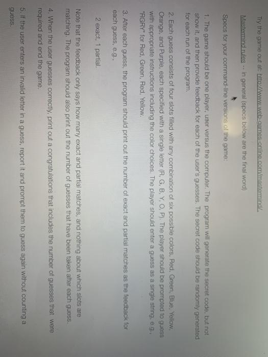 Solved Import Java Util Scanner Ok Mastermind Game W Chegg Com