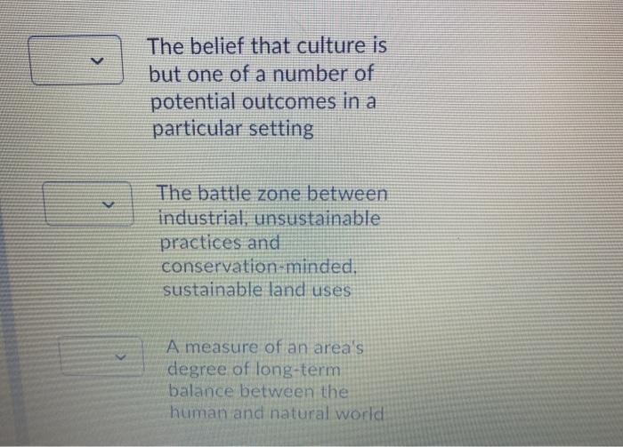 > The belief that culture is but one of a number of potential outcomes in a particular setting < The battle zone between indu