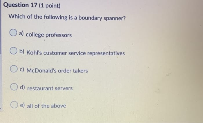 Solved Question 17 1 Point Which Of The Following Is A Chegg Com