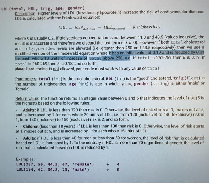 Solved Ldl Total Hdl Trig Age Gender Description H