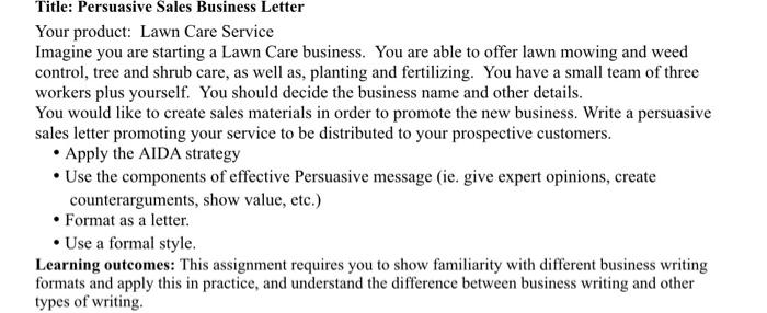 Write A Persuasive Sales Business Letter Maximun 3 Chegg Com
