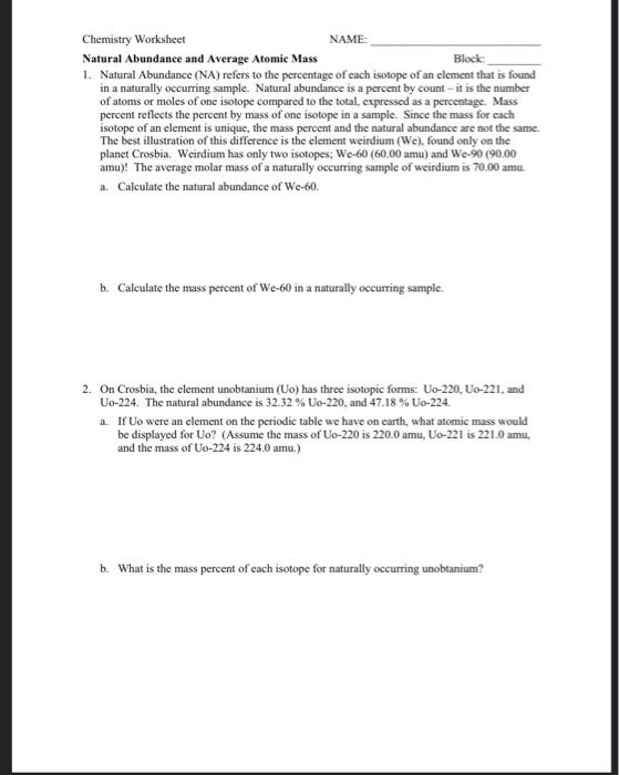 Solved Chemistry Worksheet Name Natural Abundance And Av Chegg Com