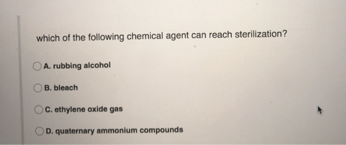 Solved: Which Of The Following Chemical Agent Can Reach St