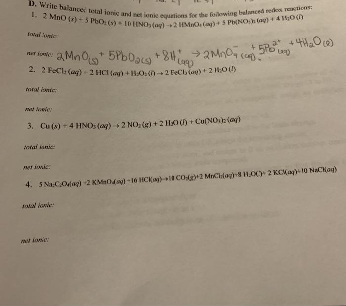 Solved Write Balanced Total Ionic And Net Ionic Equations Chegg Com