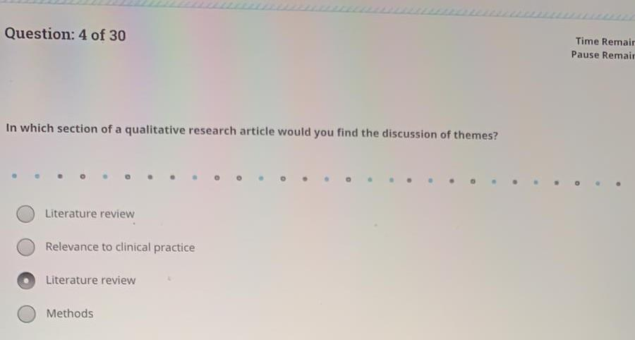 Question: 4 of 30 Time Remair Pause Remair In which section of a qualitative research article would you find the discussion o