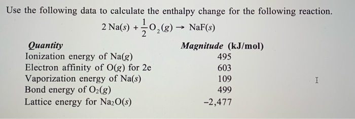 Solved: Use The Following Data To Calculate The Enthalpy C ...
