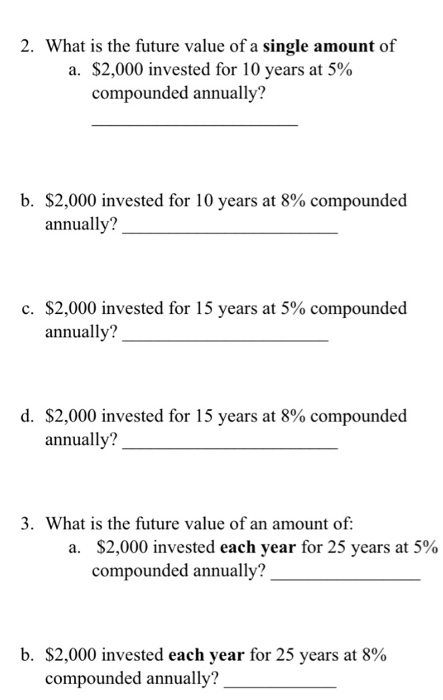 Future value of a single amount