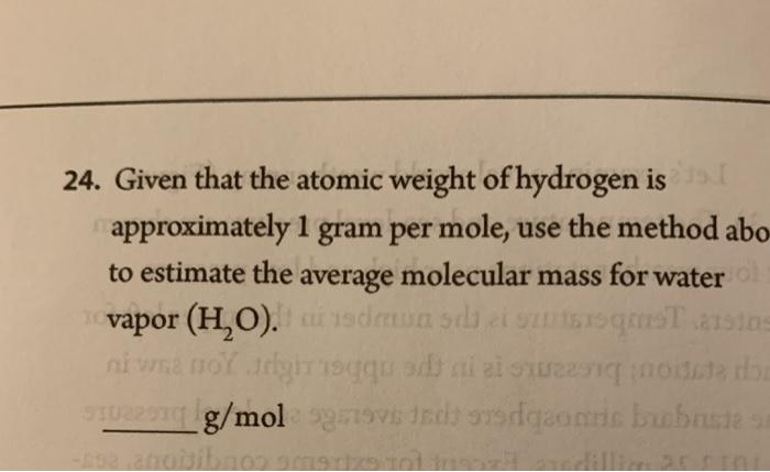 Atomic mass unit of water