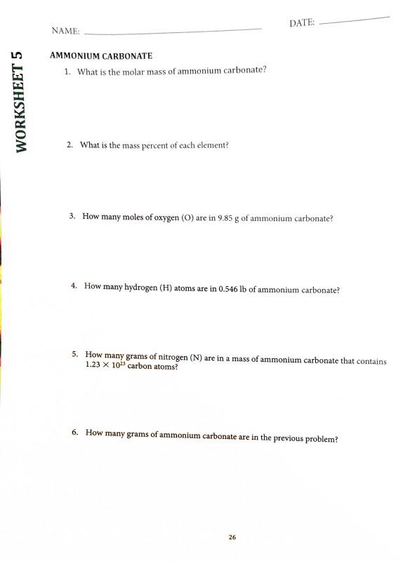 Solved Name Date Worksheet 5 Stoichiometry Worksheet 5 Chegg Com