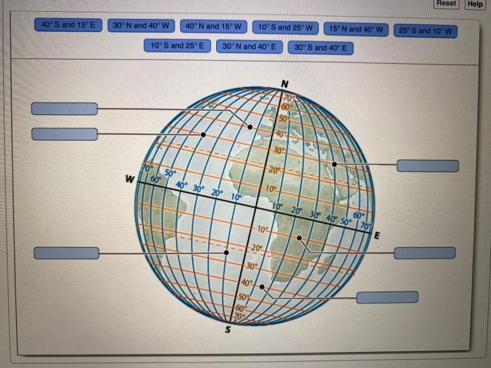 Reset Help 40s and 15°E 30°N and 40°W 40°N and 150 W 10 S and 25°W 15° N and 40°W 25° S and 10°W 10°S and 25°E 30°N and 40°E