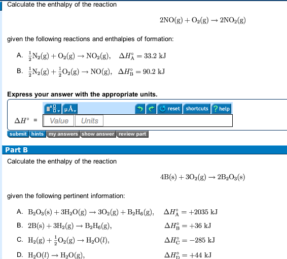 Solved: Calculate The Enthalpy Of The Reaction 2NO(g) + O2 ...