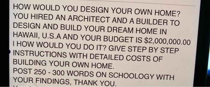 Solved How Would You Design Your Own Home You Hired An A Chegg Com