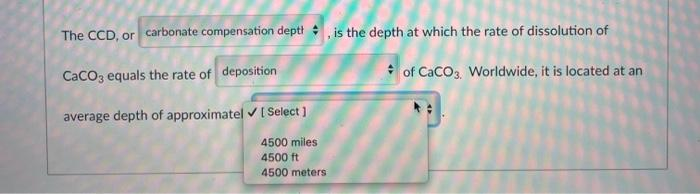 The CCD, or carbonate compensation depth is the depth at which the rate of dissolution of CaCO3 equals the rate of deposition