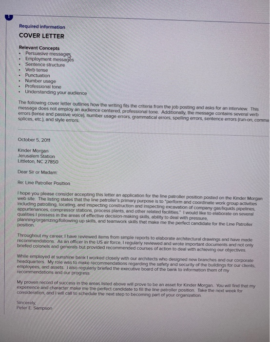 Required Information Cover Letter Relevant Concepts Chegg Com