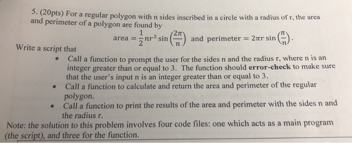 . (cupts) for a regular polygon with n sides inscribed in a circle with a radius of r, the area and perimeter of a polygon ar