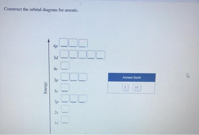 Solved  Construct The Orbital Diagram For Arsenic  Answer