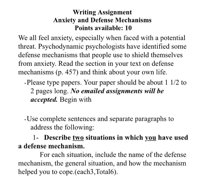 Solved Writing Assignment Anxiety And Defense Mechanisms Chegg Com