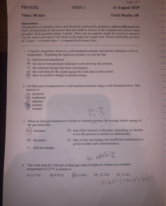 Solved: PHYS152 TEST 1 Page 1 Of 1 14 August 2019 Total Ma