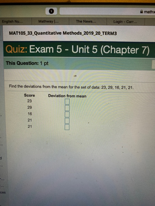 Solved: Mathx English Nu.. Mathway... The News. Login - Ca ... on