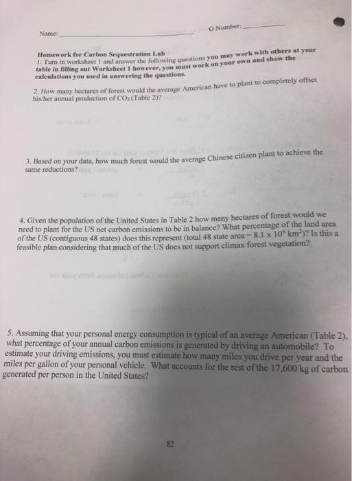 G Number: Name: Homework For Carbon Sequestration ...