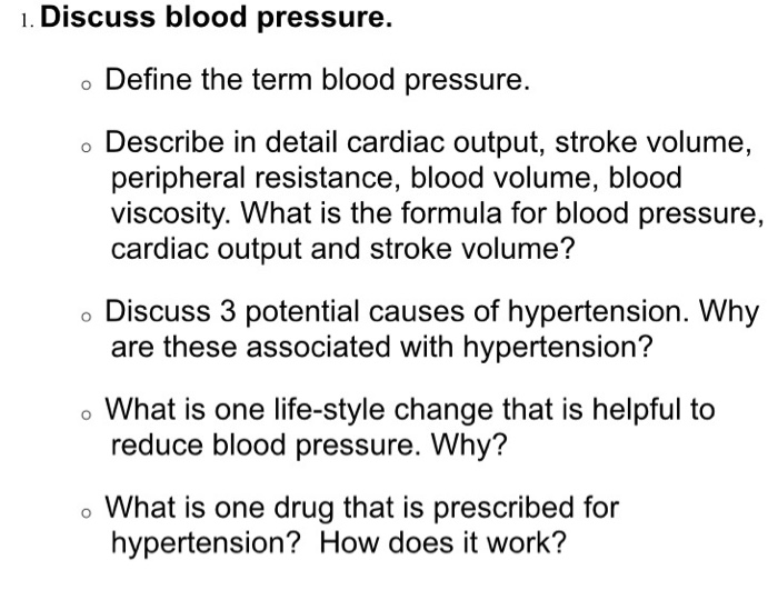 Solved 1 Discuss Blood Pressure Define The Term Blood P