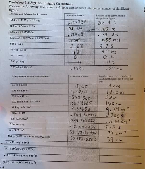 Solved: Worksheet 1.6 Significant Figure Calculations Perf ...