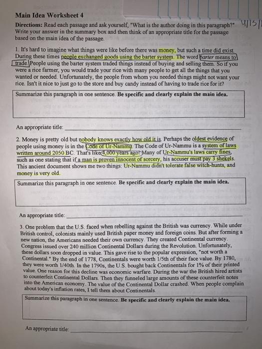 Main Idea Worksheet 4 Directions Read Each Passag ...