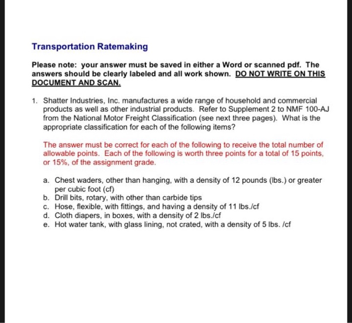 Solved: Transportation Ratemaking Please Note: Your Answer