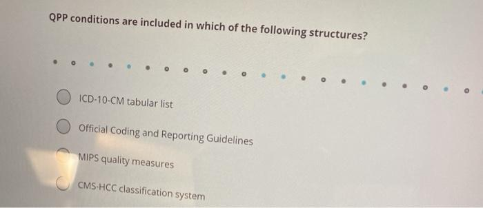 QPP conditions are included in which of the following structures? O ICD-10-CM tabular list Official Coding and Reporting Guid