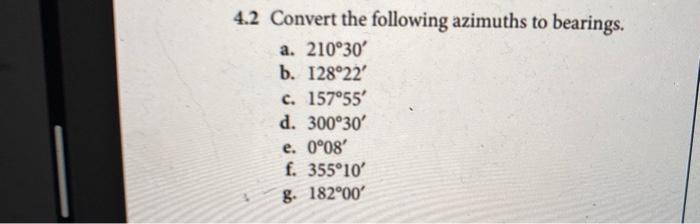 4 2 Convert The Following Azimuths