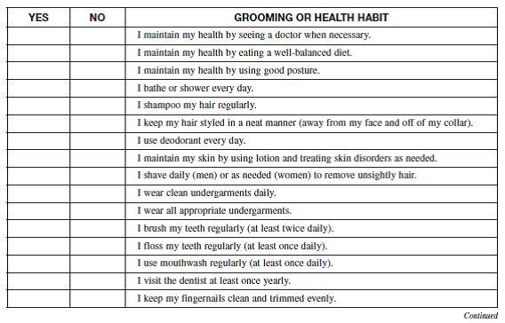 Personal Grooming Checklist Good Grooming Habits Are E Chegg Com