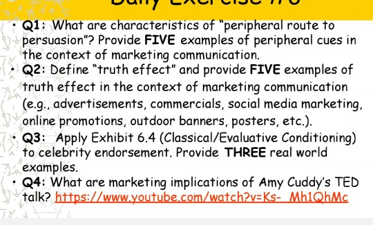 : Q1: What are characteristics of peripheral route to persuasion? Provide FIVE examples of peripheral cues in the context o
