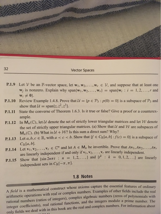 Solved: Vector Spaces P 1 9 Let V Be An F-vector Space, Le
