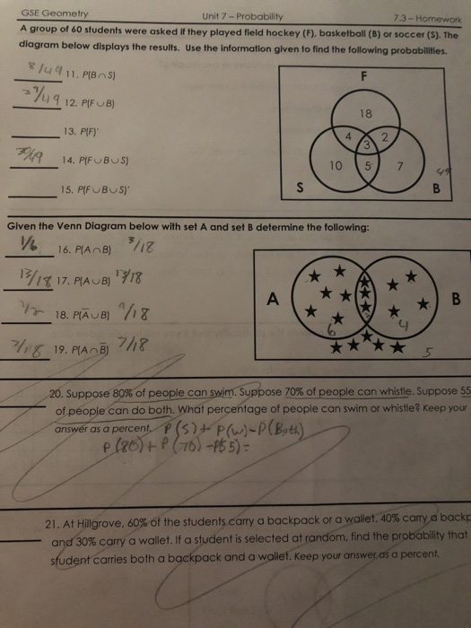 Solved: GSE Geometry Unit 7 -- Probability 7 3 - Homework