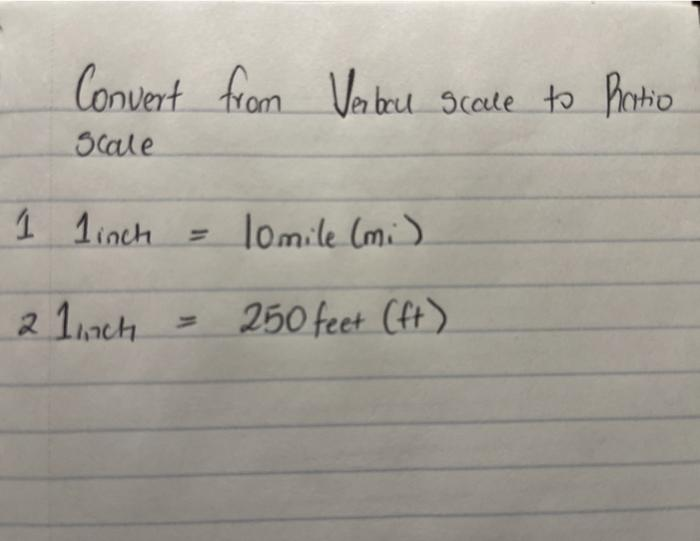 Convert from Vabel Scale to Ratio scale 1 1inch 10mile (mi) 2 1inch 250 feet (ft)