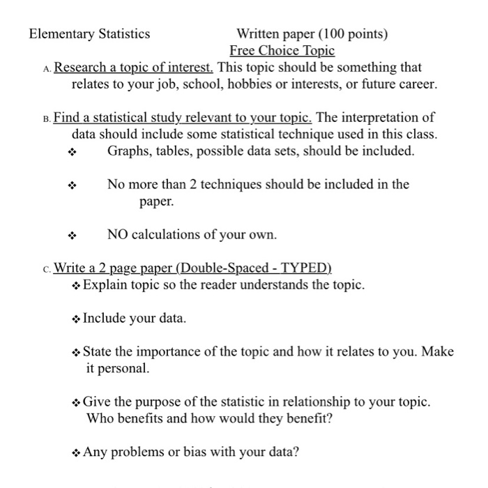Solved: Elementary Statistics Written Paper (100 Points) F