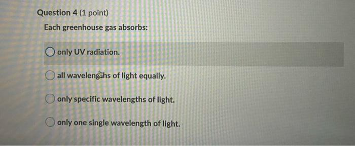 Question 4 (1 point) Each greenhouse gas absorbs: O only UV radiation. all wavelengths of light equally. only specific wavele
