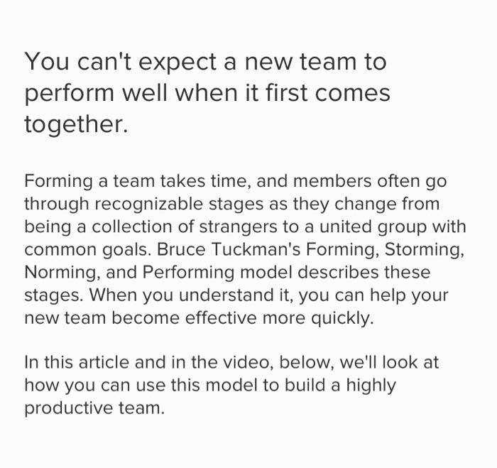four stages of developing a team