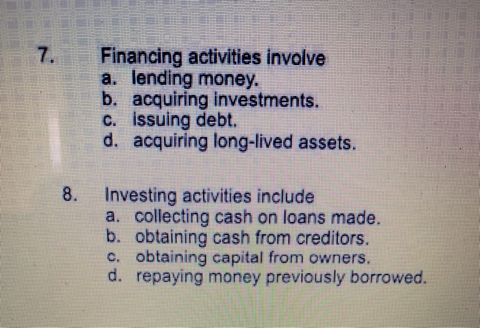 Financing activities involve acquiring investments for beginners forex hedging strategy guaranteed profit with options