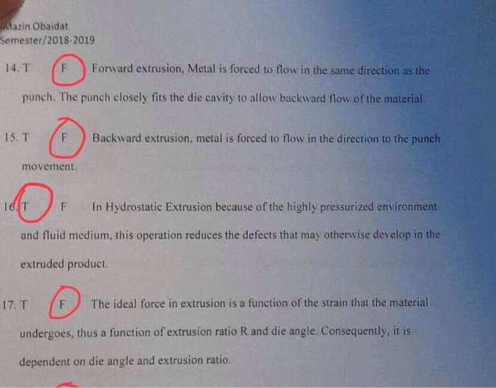 Solved: Dazin Obaidat Semester/2018-2019 14  T F Forward E