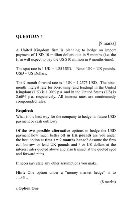Question 4 9 Marks A United Kingdom