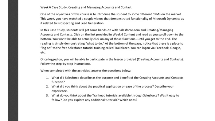 Week 6 Case Study: Creating And Managing Accounts     | Chegg com